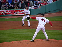 Loading up for a Tim Wakefield knuckleball at Fenway Park